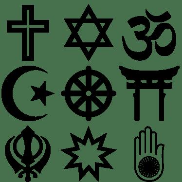 10. Religijski simboli- Simboli najčešćih svjetskih religija, odozgo nadolje, slijeva nadesno kršćanstvo, judaizam, hinduizam, islam, budizam, šintoizam, sikizam, bahaizam, džaini