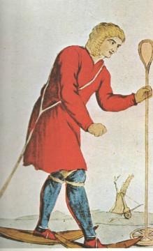 ilustracija prvih skijaša