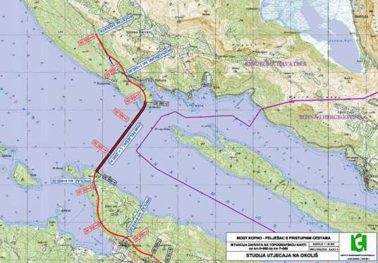 Sea map of contiguous zone CRO and B&H